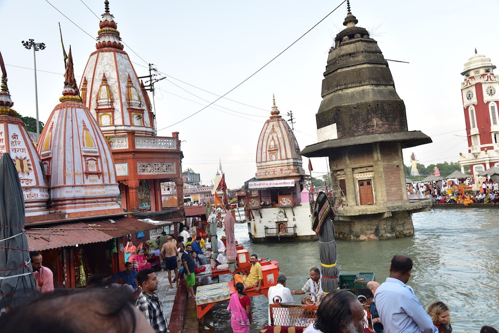 The temples at Har Ki Pauri Ghat at Haridwar